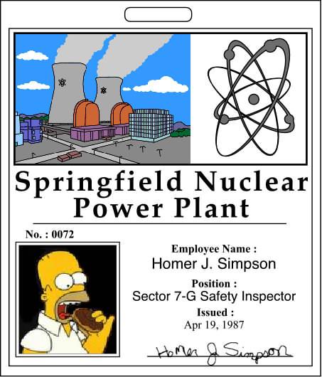 SpringfieldNuclearpowerPlantIDbadge